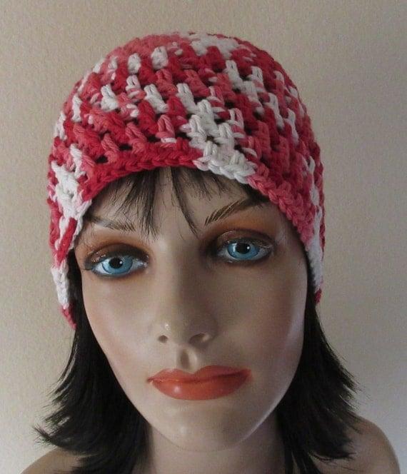 Crochet Women's Beanie Beanie Crochet Beanie Red White Beanie Red White Crochet Beanie Cotton Beanie Open Weave Beanie