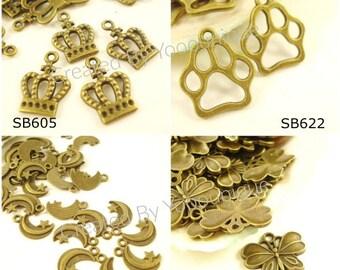 100 Wholesale Buys Charms Pendant Drop Antiqued Bronze / Silver C-365