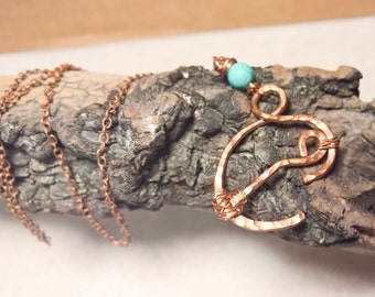 A Mother's Love Pendant in Copper with Turquoise Howlite round on Copper Chain Copper Wire Art Jewelry Boho Chic Breastfeeding Awareness