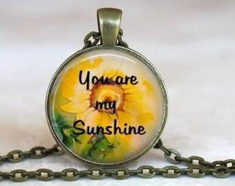 You are my sunshine, my only sunshine..Music Lyrics..Glass Pendant, Necklace or Key Ring
