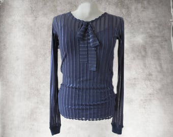 Navy mesh stripe top/Bow front shirt/Contemporary Lightweight layer/Crew neck