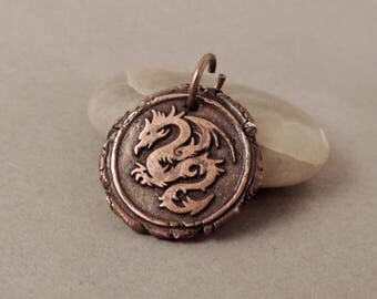 Copper Pendant, Dragon Pendant, Handmade Jewelry, Wax Seal Stamp Jewelry, Artisan Jewelry, Firey Dragon, Jewelry For Him