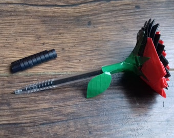 Duct Tape Rose Pen (Black & Red)