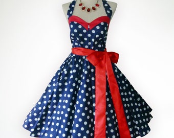 Bunny Vintage Blue And White Polka Dot  50s Pin up Rockabilly Swing Dress Full Swing Skirt