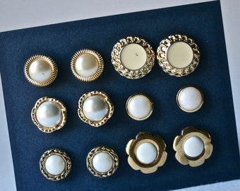 Vintage Gold Buttons with Creamy White or MOP Centers for Sewing and Crafting