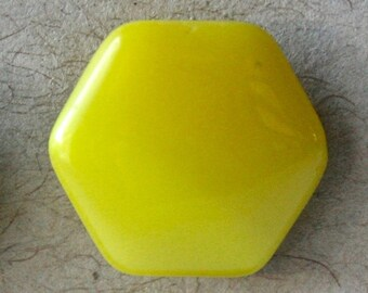 Six Vintage Yellow Glass Hexagonal Buttons for Sewing and Crafts
