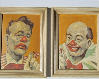 Vintage Paint by Number Clowns - Framed Circus Stars SA21 Set - Art Award Co Silver Award Series - Hard to Find Mid Century PBN