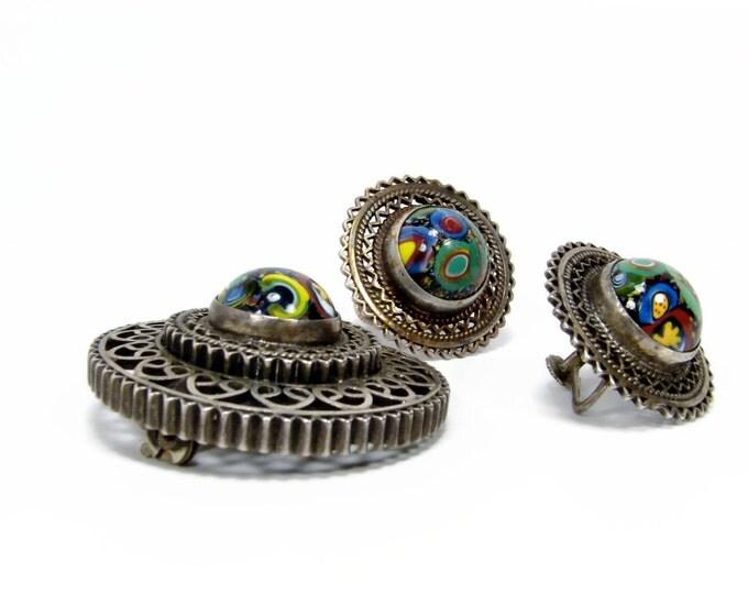 Vintage Millefiori Glass Sterling Silver Brooch Pendant Matching Earrings