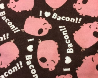 I Love Bacon - Brown pink and White - Flannel Fabric - BTY