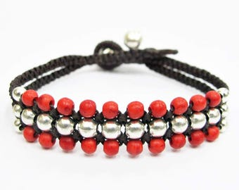 Silver Mini Triple Row Macrame Bracelet with Red Coral Bead