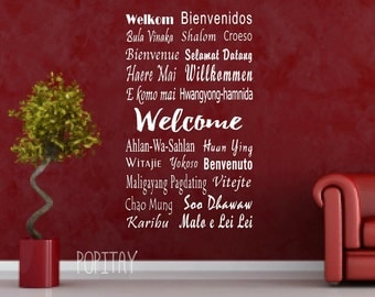 Welcome wall decals, Welcome decor, International welcome, Reception Wall Decal, School Welcome Decal, Library Welcome Sign, Living room Art