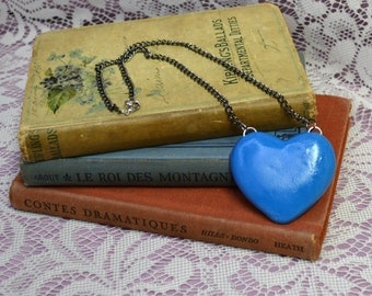 Big Blue Heart Puffy Polymer Clay Statement Charm Necklace Custom Options Available