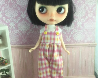 Blythe Overalls - Pink and Yellow Check