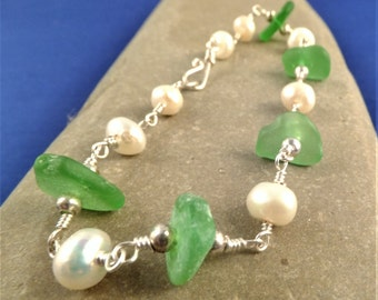 Green sea glass and freshwater pearl bracelet, wire wrapped with silver plated wire