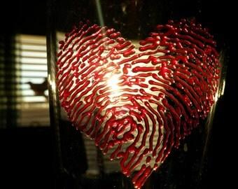 3D Bloody Fingerprints Tall Beer Glass Red Heartprint