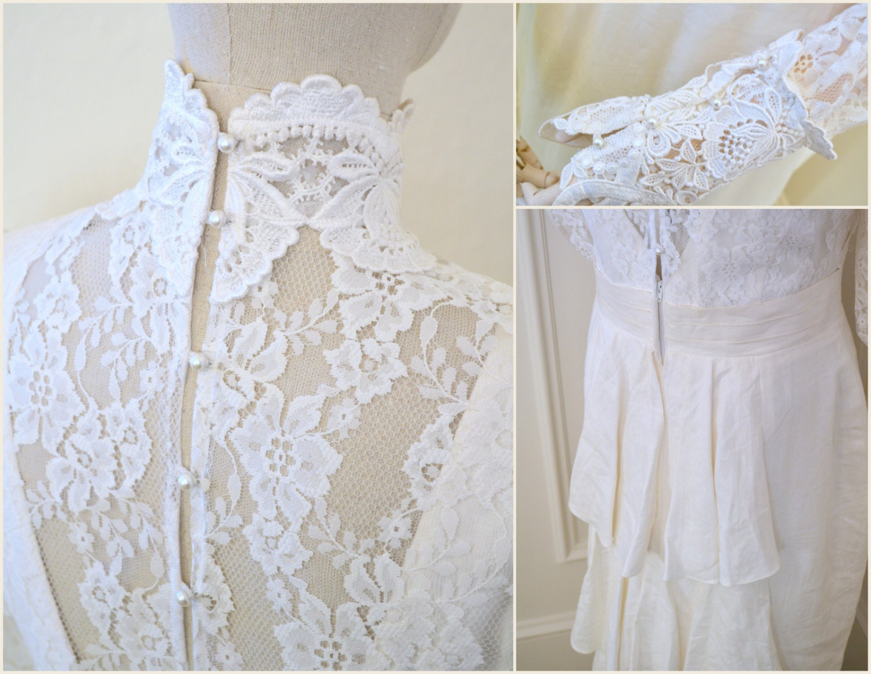 1980s Jessic McClintock Victorian Style Wedding Dress