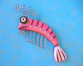 Jumbo Shrimp, Original Found Object Wall Sculpture, Wood Carving, Wall Decor, by Fig Jam Studio