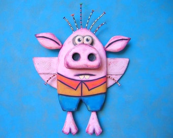 Roy the Flying Pig Boy, Original Wood Wall Sculpture, Wood Carving, Wall Decor, Pig Art, Animal Sculpture, by Fig Jam Studio