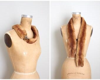 1930s red mink fur stole - full body fur neckpiece with head & tails / 30s fur neckpiece - vintage 40s fur wrap / bakelite chain closure