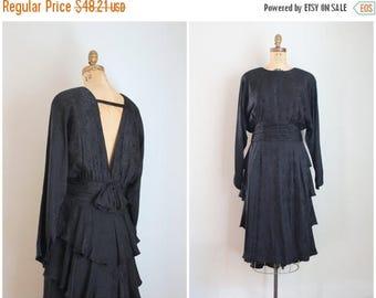 SPRING SALE vintage 80s black silk dress - open back dress / Silk Studio dress - low back silk dress / 1980s low back dress - 100% silk 80s