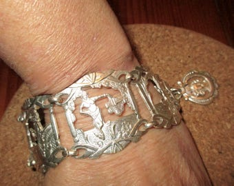 Rare, Drop Dead Amazing, Detailed Gorgeous 1930's Wide SILVER Plate EGYPTIAN REVIVAL Embossed Vintage Bracelet w/ Detailed Cut Out Designs
