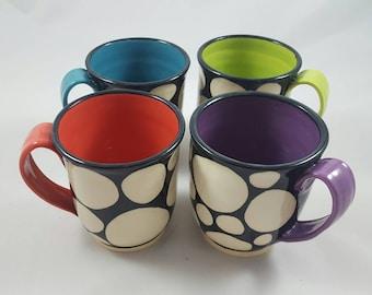 Set of 4 ceramic mugs, hand painted mugs, modern ceramics, pottery mugs, illustrated ceramics