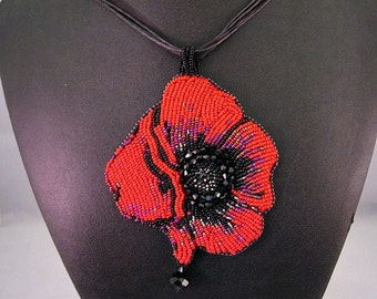 Red Beaded Rose Necklace,  Black Rose Necklace, Flower Necklace, Crystal Necklace, Hand Beaded Necklace, Beaded Necklace, Embroidered