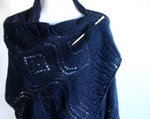 Hand Knit Lace Shawl - Midnight Blue
