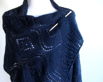Hand Knit Lace Shawl - Midnight Blue
