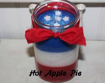 HOT APPLE PIE Scented Americana Red White & Blue w/ Stars Primitive 32 oz. Canning Jar Candle - Highly Scented