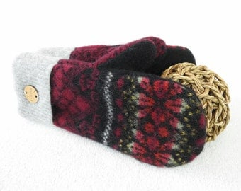 Sweater Wool Mittens CRANBERRY RED and BLACK Nordic / Fair Isle Eco-Friendly Wool Gloves Fleece Lined Mittens Eco Gift Under 50 WormeWoole