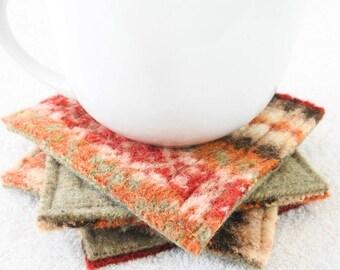 Wool Coasters / Rustic RED & TAN Coasters / Recycled Mug Rugs / Felted Wool Beige Coasters / Ecofriendly Housewarming Gift by WormeWoole
