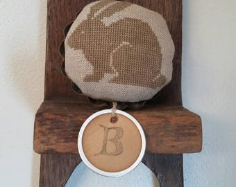 "Primitive cross stitch ""B"" is for round bunny mini pinkeep folk art handmade"