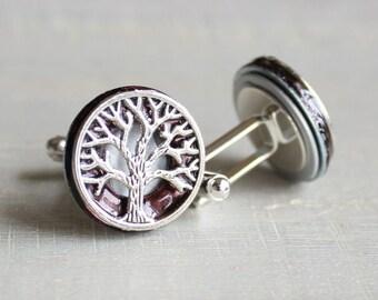 burgundy tree of life cufflinks, celtic cufflinks, anniversary gift, best man gift, mens jewelry, fiance gift, groom cufflinks, unique gift