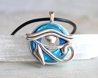 sky blue eye of horus necklace, mens jewelry, mens necklace, unique gift, Egyptian god, Egyptian symbol, The Wadjet, mens gift, good luck