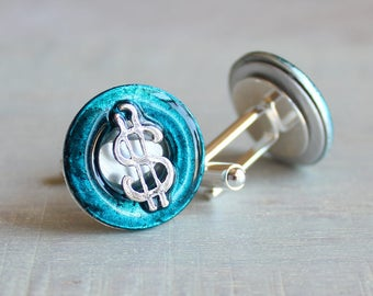 blue dollar sign cufflinks, dollar cufflinks, anniversary gift, mens jewelry, mens gift, wedding jewelry, groomsmen gift, best man