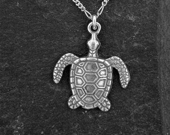 Sterling Silver Large Sea Turtle Pendant on a Sterling Silver Chain