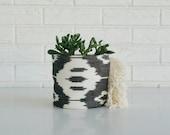 Black and White Planter - Boho  Textile Planter - Ikat Plant Cover