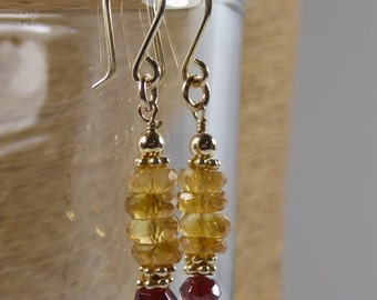 Citrine Earrings, Citrine and Garnet, Gold Filled, Beaded Gemstone, Semi Precious, Birthstone Earrings