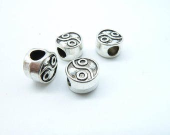 15pcs 7x10mm Antique Silver  Pendant Round Taiji Spacers Beads C6252