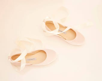 The Wedding Shoes with Ribbons | The Bridal Ballet Flats with Ivory Satin Ribbons in Blush Suede