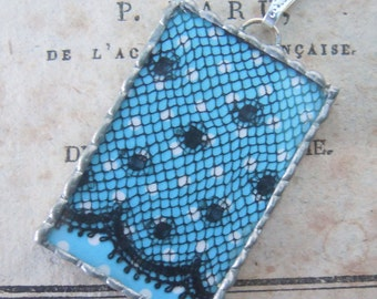 Fiona & The Fig Double Sided- Vintage French  Lace - Art Deco Flapper - Soldered Necklace-Pendant-Charm