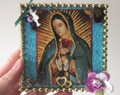 Our lady of Guadalupe image on wooden plaque block / rustic vintage image / Virgin Mary / Mexican wall art christmas stocking