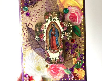 On SALE Our lady of guadalupe cross on wooden plaque/ Mexican craft  // OOAK folk art / Mexican Love wedding