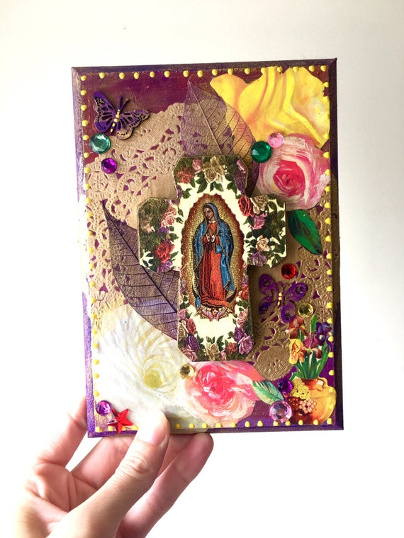 On sale our lady of guadalupe cross on wooden plaque mexican for Our lady of guadalupe arts and crafts