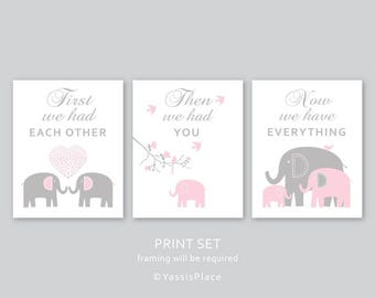 First We Had Each Other, Elephant Nursery Decor, Baby Girl or Boy Nursery Art Print in Light Pink and Gray, Kid Wall Art by YassisPlace