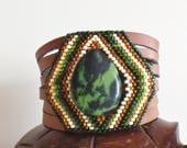 Leather cuff bracelet, Beaded Bracelet, Native American Bracelet, Turquoise