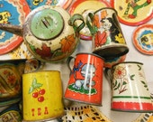 Tin Litho Dishes 25 Pc Lot ~ Pitchers, Cups, Plates and More, Multicolored Prints