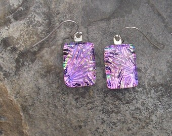 Pink Earrings Fused Dichroic Glass Mauve Earrings