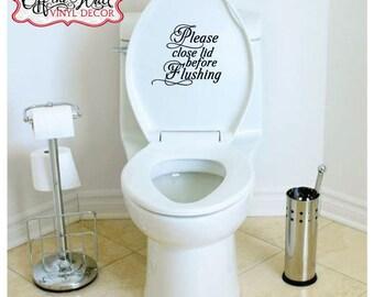 "Bathroom Toilet ""Please close lid before Flushing"" Vinyl Lettering Decal Sticker"